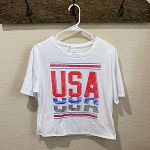 White USA Crop Top